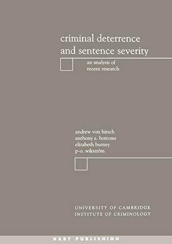 9781841130514: Criminal Deterrence and Sentencing Severity
