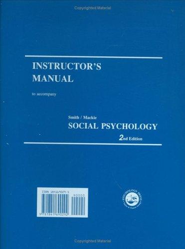 9781841690292: Instructor's Manual, Social Psychology