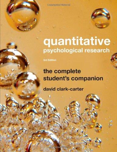9781841696904: Quantitative Psychological Research: The Complete Student's Companion