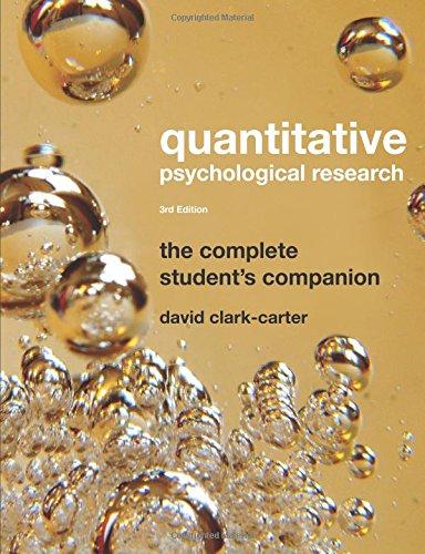 9781841696911: Quantitative Psychological Research: The Complete Student's Companion