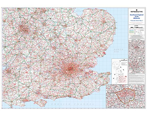 9781842520055: Southeast England and the Midlands (Map Marketing Postcode District Map)
