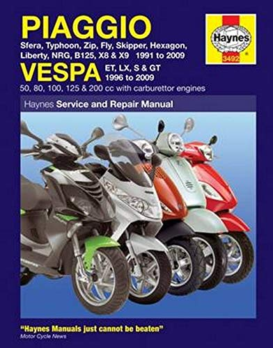 9781844258031: Haynes Piaggio Vespa Manual: Sfera, Typhoon, Zip, Fly, Skipper, Hexagon, Liberty, Nrg, B125, X8 & X9 1991 to 2009 and Vespa Et, Lx, S & Gt 1996 to 2009