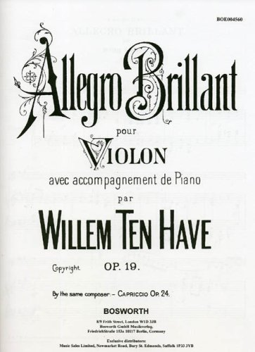 9781844498611: TEN HAVE ALLEGRO BRILLANTE OP 19 VLN/PF VIOLIN & PIANO