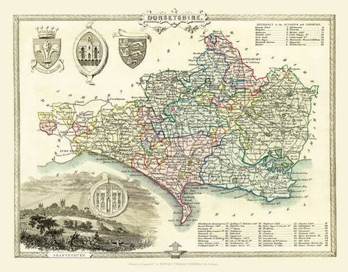 Thomas Moules Map of Dorsetshire 1837: Photographic Print of County Map of Dorsetshire 1837 by ...