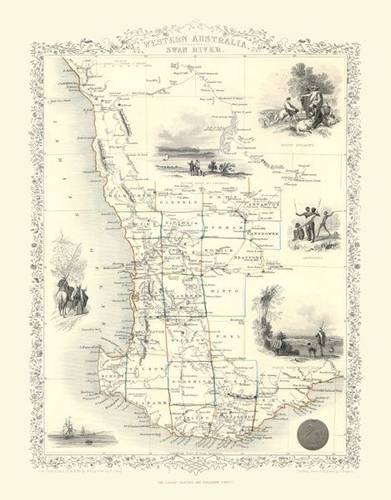 9781844912049: John Tallis Map of Western Australia 1851: Photographic Print of Map of Western Australia 1851 by John Tallis