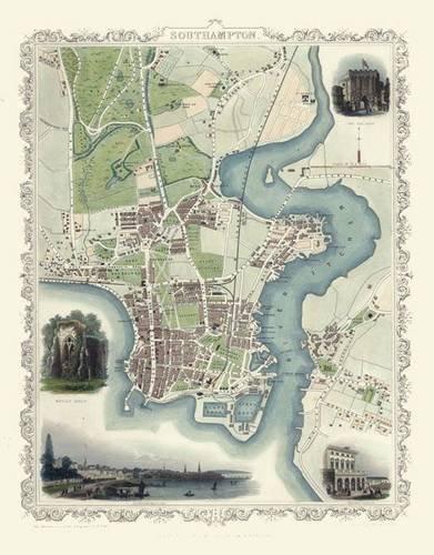 9781844912803: John Tallis Map of Southampton 1851: Colour Print of Southampton Town Plan 1851 by John Tallis