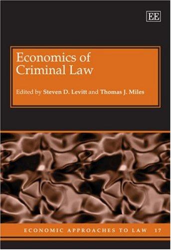 9781845427832: Economics of Criminal Law (Economic Approaches to Law)