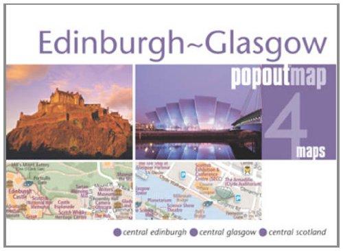 Edinburgh-Glasgow PopOut Map: pop-up city street map of Edinburgh and Glasgow city centers - folded...