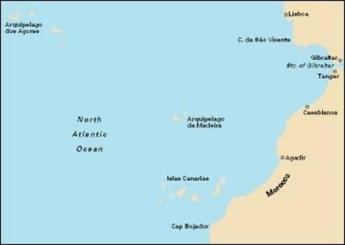 Imray Chart C20: Strait of Gibraltar to Archipelago Des Acores & Islas Canarias