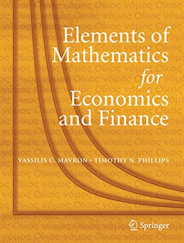 Mathematics for Economics and Finance Methods and Modelling