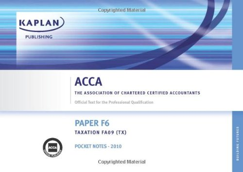 9781847107930: F6 Taxation TX (FA 08): Paper F6 (AAT Pocket Notes)