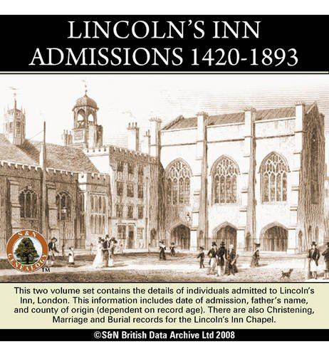 9781847273598: London, Lincoln's Inn Admissions 1420-1893