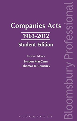 Companies Acts 1963-2012: Student Edition: A Guide to Irish Law: Lyndon MacCann, Thomas B. Courtney