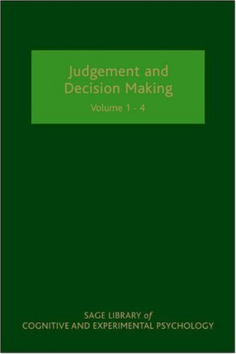 9781847872678: Judgement and Decision Making (Sage Library of Cognitive and Experimental Psychology) [4 Vol Set]
