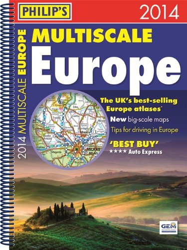 9781849072717: Philip's Multiscale Europe 2014: Spiral A4 (Road Atlas)