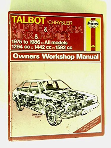 Talbot/Chrysler Alpine and Solara, Minx and Rapier 1975-86 Owner's Workshop Manual (...