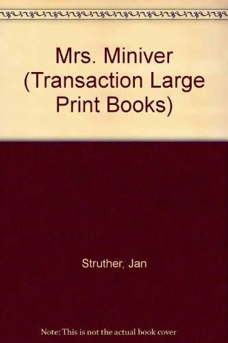 9781850893646: Mrs Miniver (Transaction Large Print Books)