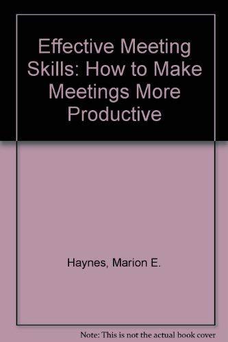 9781850917588: Effective Meeting Skills