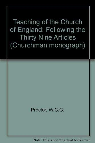 9781850930532: The Teaching of the Church of England Following the Thirty Nine Articles