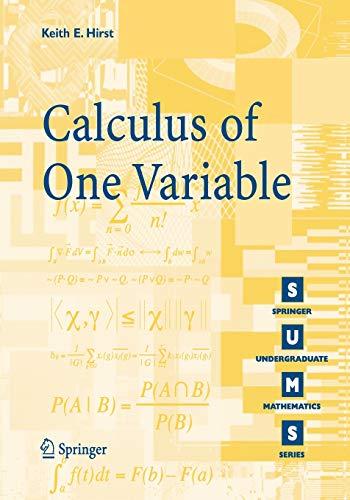 9781852339401: Calculus of One Variable (Springer Undergraduate Mathematics Series)