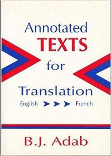 9781853593192: Annotated Texts for Translation:English-French (Topics in Translation)