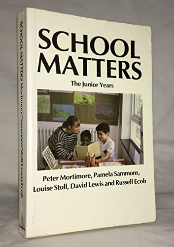9781853963025: School Matters: The Junior Years