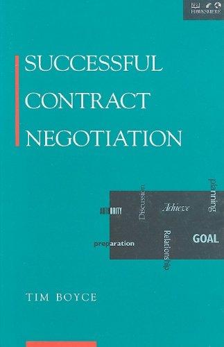 9781854180216: Successful Contract Negotiation