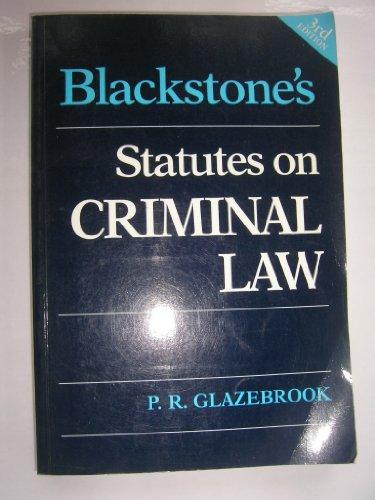 9781854312822: Blackstone's Statutes on Criminal Law - AbeBooks