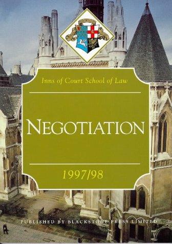 9781854316714: Negotiation 1997-98 (Inns of Court Bar Manuals)