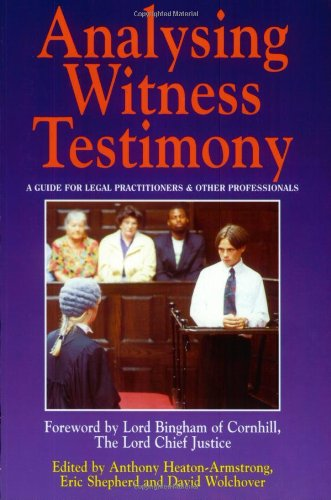 9781854317315: Analysing Witness Testimony: Psychological, Investigative and Evidential Perspectives: A Guide for Legal Practitioners and Other Professionals (Blackstone Press)