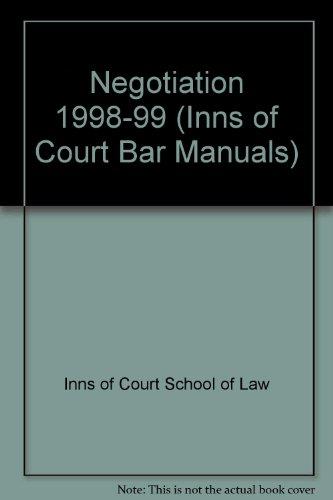 9781854317698: Negotiation 1998-99 (Inns of Court Bar Manuals)
