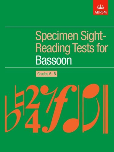 9781854728920: Specimen Sight-Reading Tests for Bassoon, Grades 6-8 (ABRSM Sight-reading)