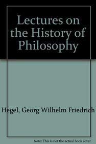 Lectures on the History of Philosophy (9781855068056) by Hegel, Georg Wilhelm Friedrich