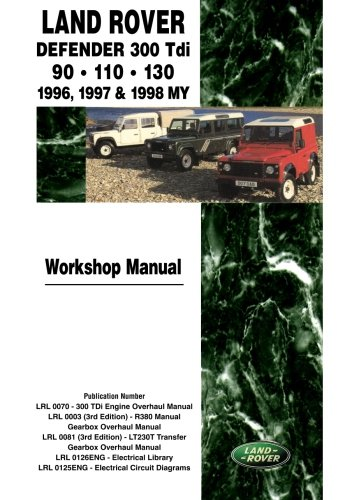 Land Rover Defender 300 Tdi 90- 110 - 130 Workshop Manual 1996-1998 MY: Brooklands Books Ltd