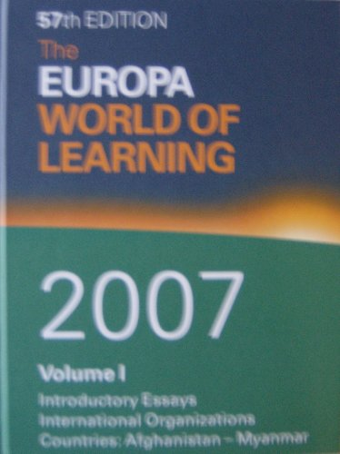 The Europa World of Learning 2007 (2 Volume Set): Europa Publications