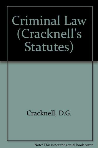 Criminal Law (Cracknell's Statutes S.): D.G. Cracknell