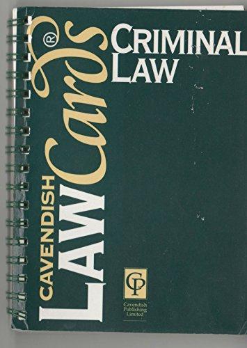 Cavendish Law Cards: CRIMINAL LAW