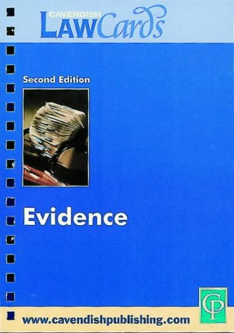 9781859415139: Cavendish: Evidence Law Cards (Lawcards S)