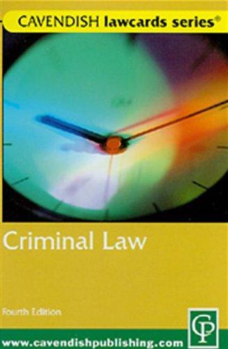 Cavendish: Criminal Lawcards: Routledge-Cavendish