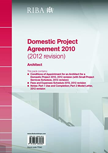 9781859464564: RIBA Domestic Project Agreement 2010 (2012 Revision): Architect