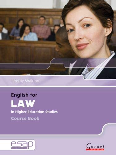 9781859644171: English For Law In Higher Education Studies. Course Book (+ Audio CD): Course Book and Audio CDs (English for Specific Academic Purposes)