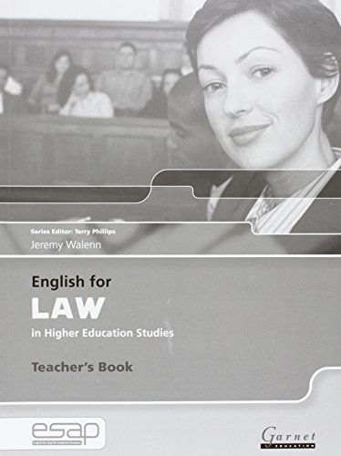 English for Law Teacher Book (Paperback): Jeremy Walenn