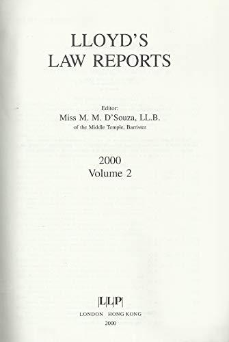 Lloyd's Law Reports 2000 Bound Volume: Vol