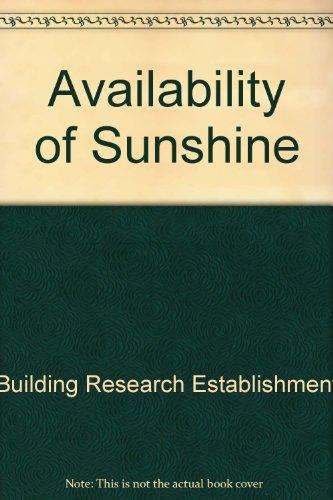 9781860817762: Availability of Sunshine