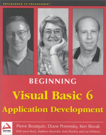 9781861001092: Beginning Visual Basic 6 Application Development (Programmer to programmer)