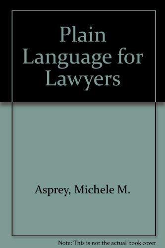 9781862870635: Plain Language for Lawyers