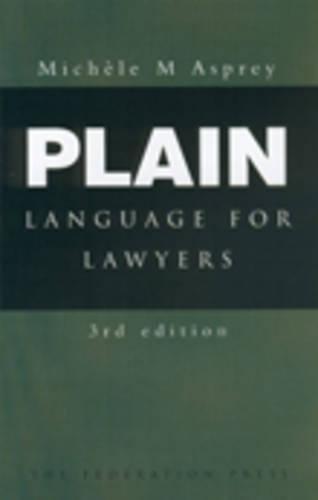 9781862874640: Plain Language for Lawyers