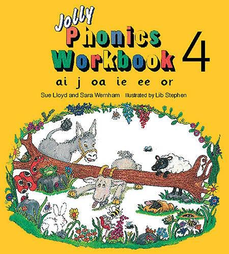 9781870946544: Jolly Phonics Workbook 4: in Precursive Letters (BE): Ai, J, Oa, Ie, Ee, or
