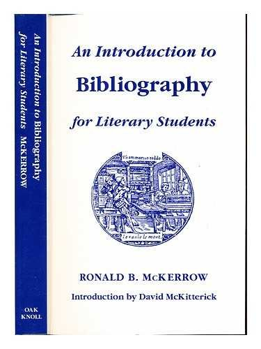 9781873040072: An Introduction to Bibliography for Literary Students