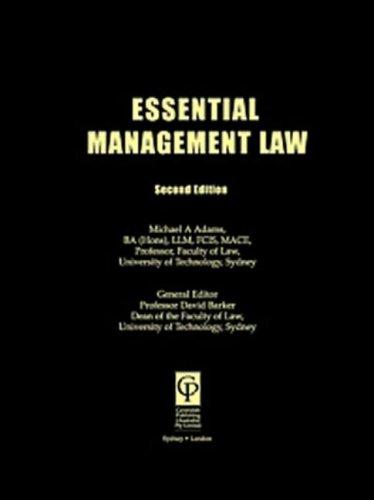9781876213169: Essential Australian Management Law (Australian Essentials Series)